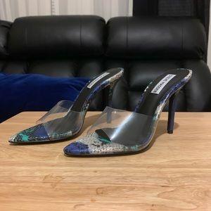 Steve Madden snakeskin clear strap sandal/heels